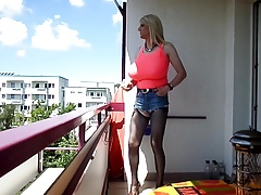 sandralein33 Blond Whore with Monster Tits smoking Outdoor
