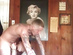 Black Bitch Sucks Hung Tatted White Thug Again