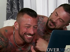 Two adorable hunks Derek and Dolf having a bathroom sex