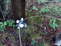 Two friends pissing on a plush bear in the woods COMPILATION