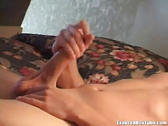 Twink with a big dick gets spied on