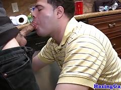 Cocksucking straight twink pledges frat