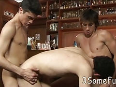 One gay boy fucked from two ends in a public place